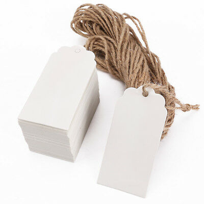 100pcs étiquette kraft cartonné + cordon chanvre tags rectangulaire 95x45mm