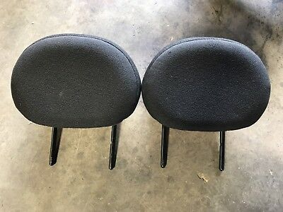Citroen C2 2003 - 2009 Rear Plain Black Cloth Headrests Pair Set Ref G7