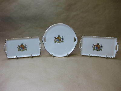 3 Small Crested China Trays ~ Royal Arms ~ Dieu Et Mon Droit ~ Gemma Porcelain