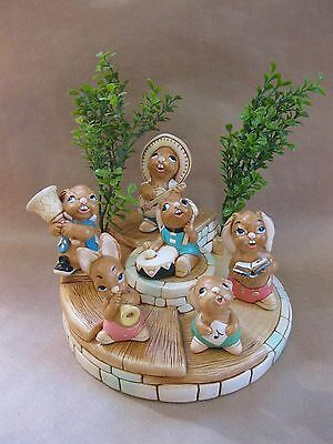 PenDelfin Bandstand & 6 Rabbits / Musicians & Foliage ~ Hand Painted Stonecraft