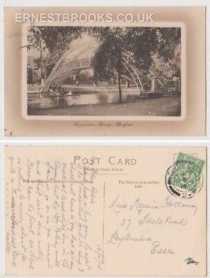 Early Postcard, Bedfordshire, Bedford, The Suspension Bridge, 1914