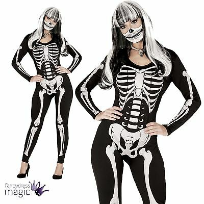 Ladies Halloween Skeleton Bones Cat Suit Jumpsuit Fancy Dress Costume Outfit New