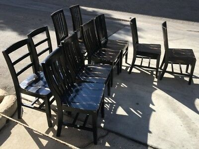 """18"""" Chair Black Wood Fatigue Mill Works #7080 Commercial Restaurant Dining Seats"""