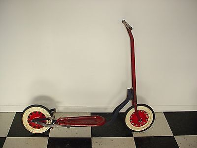 VINTAGE SCOOTER PRESSED STEEL CHILDRENS PUSH SCOOTER TOY 30's-40's RARE