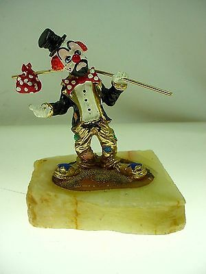 Vintage Ron Lee Clown Figurine Ron Lee Cast Metal Hobo Clown Figure Marble Base