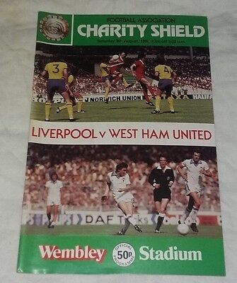 LIVERPOOL V WEST HAM F.A.Charity Shield Sat. 9th August 1980  FOOTBALL PROGRAMME