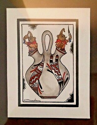 Original Painting Edgar Sumatzkukubu Hopi Mud Heads Native American Framed