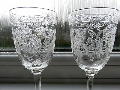 Six Antique Sherry Glasses Beautifully Engraved With Oriental Design Of Blossom