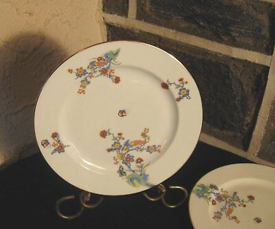 VIGNAUD Limoges dinner plates Multi color Birds, flowers,gold trim 9 5/8