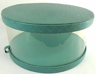 "VTG Ladies HAT BOX 14"" Round Clear w/ Robins Egg Blue Quilted Top Bottom c1950's"