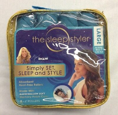 Sleep Styler Hair Curing Rollers Large, Set of 8- 6 inch rollers *Open Box*