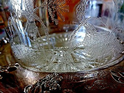 ANTIQUE c1860 HAND BLOWN GLASS BUTTER DOME W ETCHED BIRDS + later SP BASE, LINER