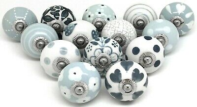 14 These Please Ceramic Door Knobs Drawer Handles SECONDS Grey White Mix D14