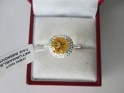 GENUINE CITRINE 1.75ct STERLING SILVER SOLITAIRE RING SIZE O