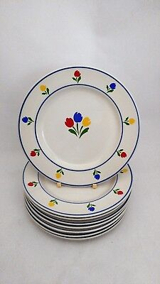 "JMP Marketing Tulip Tyme - Set of EIGHT 7"" Bread & Butter / Side / Salad Plates"