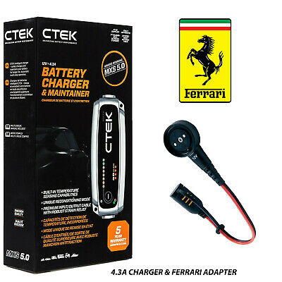 Ferrari CTEK 4.3A Battery Charger & Custom Adapter 360 F430 458 California 612