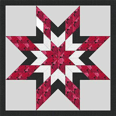 RED ROSE STAR - Not Quilted, Machine pieced, Made in the USA