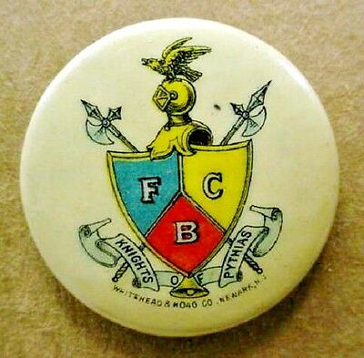 early vintage KNIGHTS OF PYTHIAS Fraternal Order celluloid pinback button