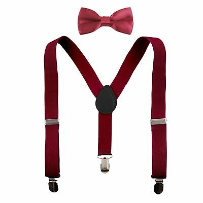 New Baby Toddler Kids Child Burgundy Suspenders Bow Tie Sets  USA SELLER