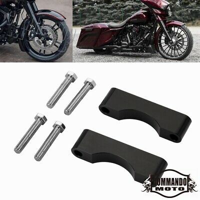"Motors Black Front 1"" thick Fender Spacer Riser CNC Aluminum Bracket For Harley"
