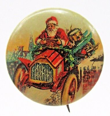 "c. 1900 SANTA CLAUS DRIVING TRUCK Christmas rare 7/8"" size pinback button +"