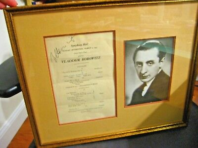 Vladimir Horowitz Signed Concert Program from 1947 Framed with Picture