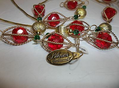 """Katherines Collection Faceted Bead GARLAND 72"""" RED Green GOLD NIP Retired"""