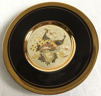 """Art of Chokin Peacock Plate Gilded Gold & Silver Black Background 6"""""""