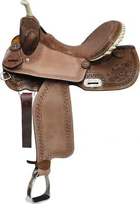 """15"""" Double T BARREL Style Saddle With Brown Filigree Seat & Floral Tooling!"""