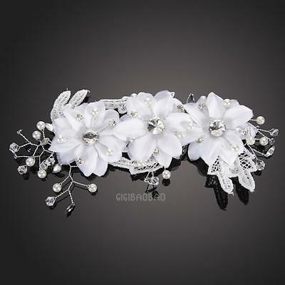 White Floral Crystal Wedding Bridal hair Accessories hair piece Tiara Head band