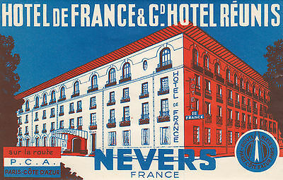 Hotel de France & Grand Hotel Réunis NEVERS France 1930-50s Luggage Label