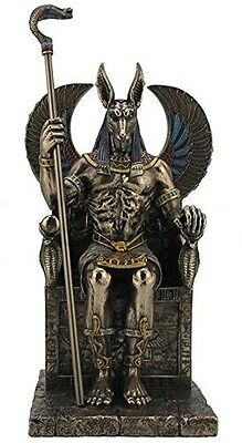 "10.5"" Egyptian God Anubis on Throne Egypt Decor Statue Sculpture Figure"