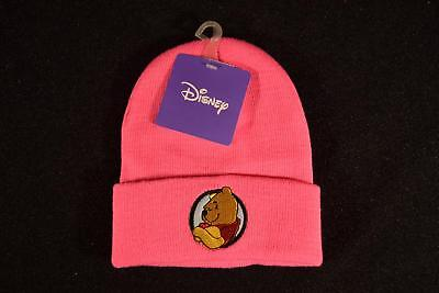Winnie the Pooh Toddler Knit Winter Beanie HAT Cuffed BRIGHT PINK Ages 1-3