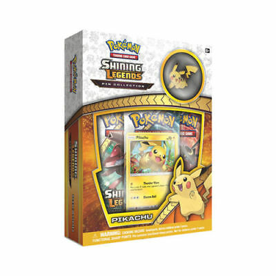 Pokemon Shining Legends Pikachu Pin Collection Box 3 Booster Packs Promo Card