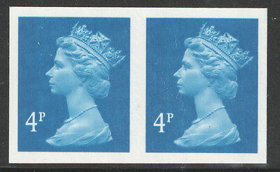 Y1669a Imperforate Pair 4p New Blue Machin (2 Bands) Unmounted Mint Cat £1700 **
