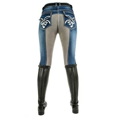 ON OFFER | HKM Ladies Pasadena Denim Breeches 3/4 Grip Seat | RRP £79! SAVE £29!