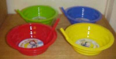 (Set of 4) ~ Sip-a-bowl Soup, Cereal Bowl for Kids Plastic with Built in Straw