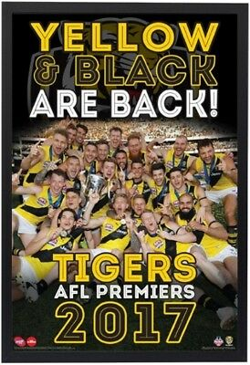 "[Framed] Richmond Tigers Poster ""2017 Afl Premiers"" Black Timber Frame ""martin"