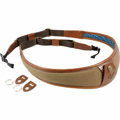 4V Design ALA Canvas and Leather Universal Fit Camera Neck Strap in Brown/Brown