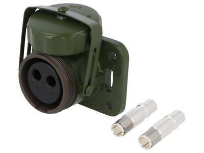 2725-13.00 Socket circular female PIN2 with hinged cover Colour olive ELKE