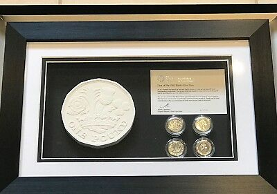 """One Pound Coin, Royal Mint Issue """" Last Of The Old First Of The New""""  Framed"""