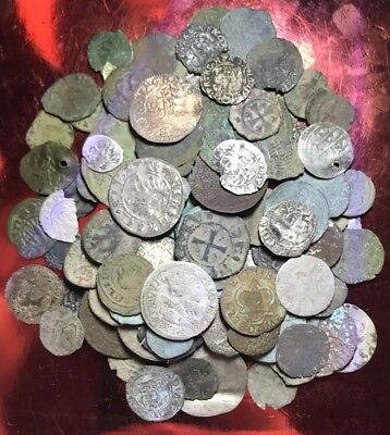 Lot Of 10 X Authentic Medieval Hammered Silver And Bronze Coins. Mixed Types.