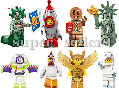 8pc minifigures Flying warrior Statue of liberty Rocket Medusa Gingerbread toys