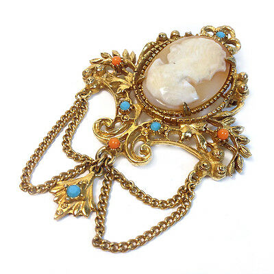 Geno Cameo Brooch with Dangling Chains