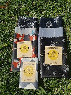 Reusable Beeswax Wraps - School Pack - BOYS - 3 Wraps