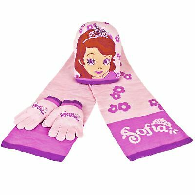 New Kids Girls Sofia The First Accessory Set Matching Pink Hat Scarf & Gloves