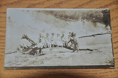 WWI Postcard Family Photograph at swimming hole - appears to be midwest USA