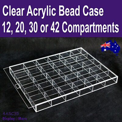 BEAD Case Storage Display | Clear ACRYLIC | 12/20/30/42 Compartments | AUS Stock