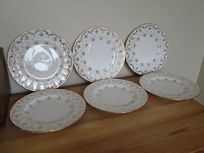 Set Of Six Vintage Osborne China Dessert Salad Plates Fleur De Lis Gold White