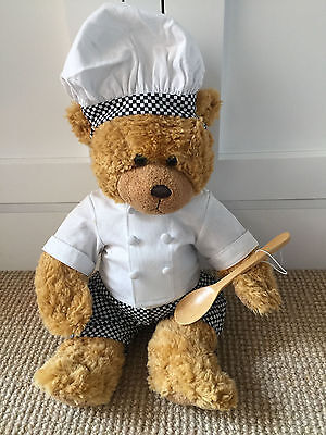 BEAR FACTORY Chef Cook clothes hat jacket checked pants for teddy bear. Like new